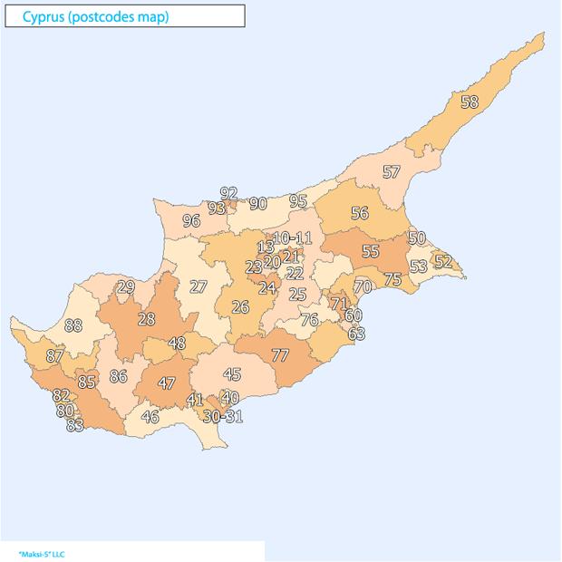 cyprus Карта почтовых индексов некоторых стран Европы и мира