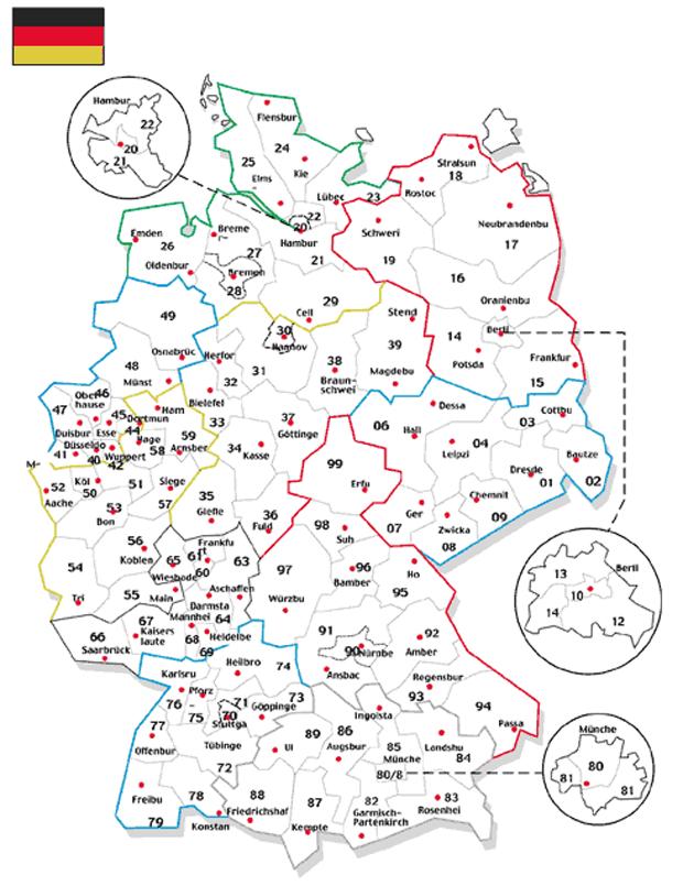 germany Карта почтовых индексов некоторых стран Европы и мира