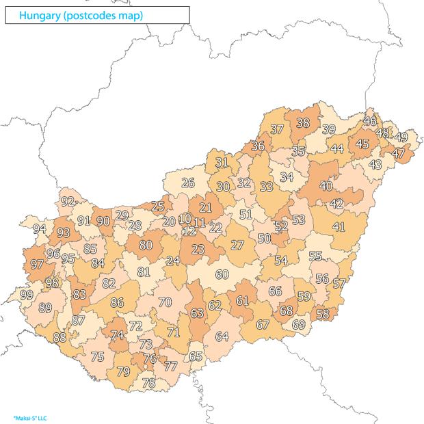 hungary Карта почтовых индексов некоторых стран Европы и мира