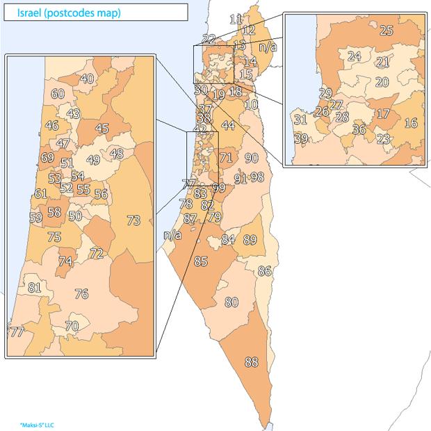 israel Карта почтовых индексов некоторых стран Европы и мира