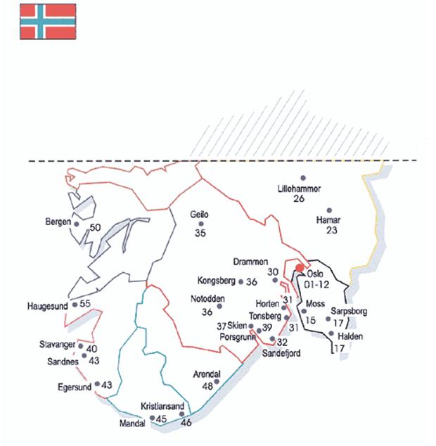norway Карта почтовых индексов некоторых стран Европы и мира