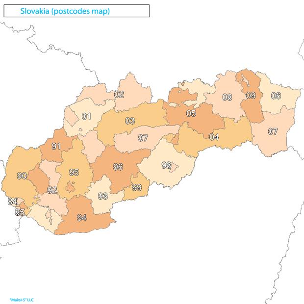 slovakia Карта почтовых индексов некоторых стран Европы и мира
