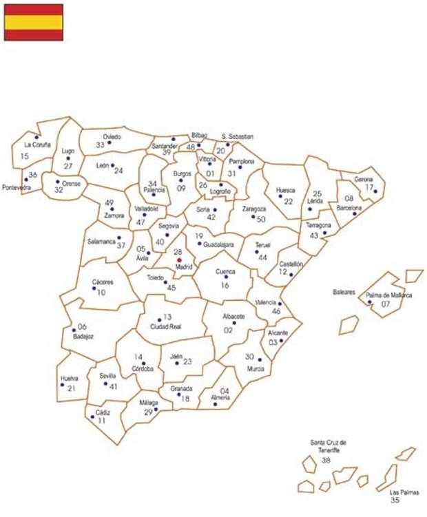spain Карта почтовых индексов некоторых стран Европы и мира